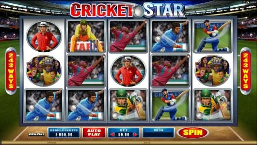 Cricket Star :: Main game board featuring five reels and 243 paylines with a 525000x max payout