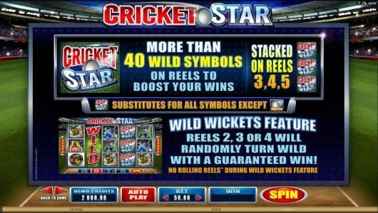 Casino Mate featuring the Video Slots Cricket Star with a maximum payout of $105,000