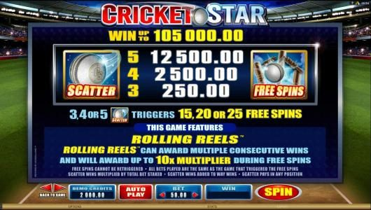 Cricket Star :: Scatter symbol and Free Spins Symbol paytable and game rules