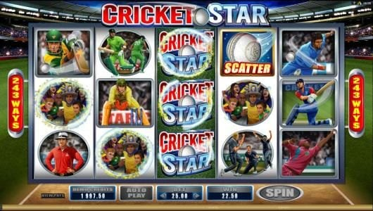 Cricket Star :: Stacked wilds triggers multiple winning paylines.