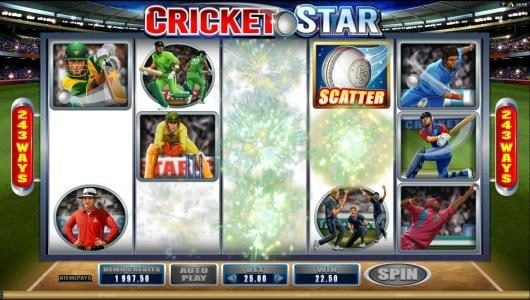 Cricket Star :: Winning symbols are removed from the game board and new sybols drop into place giving the player an addtional chance for additional wins