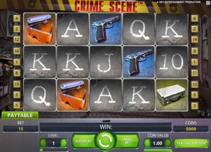 Slots Magic featuring the Video Slots Crime Scene with a maximum payout of $7,500