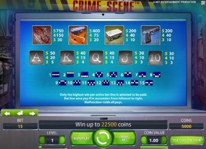 Touch Lucky featuring the Video Slots Crime Scene with a maximum payout of $7,500