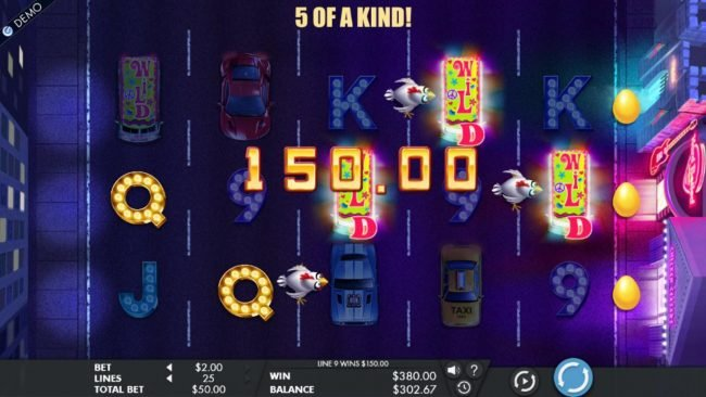 A 150.00 jackpot triggered by a five of a kind.