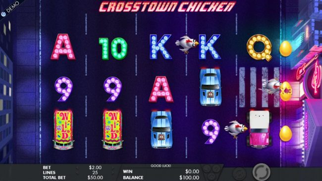 The chickens will use the crosswalk symbols to advance across the reels. The first chicken to reach the casino, awards a multiplier and a bonus game.