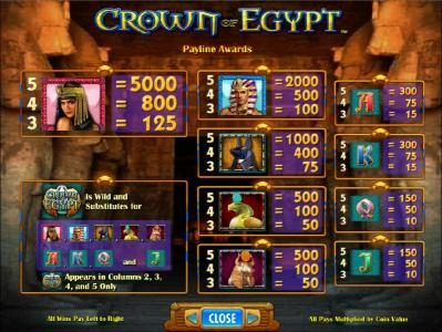 Zinger Spins featuring the Video Slots Crown of Egypt with a maximum payout of $250,000