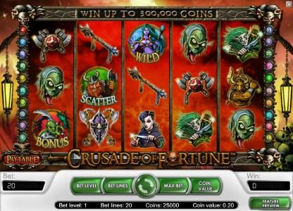 Casinia featuring the Video Slots Crusade of Fortune with a maximum payout of $20,000