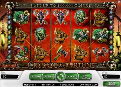 Betting Ways featuring the Video Slots Crusade of Fortune with a maximum payout of $20,000