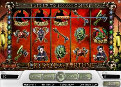 Prime Slots featuring the Video Slots Crusade of Fortune with a maximum payout of $20,000