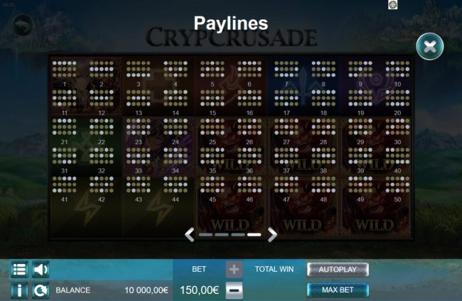 Videoslots featuring the Video Slots CrypCrusade with a maximum payout of $150,000