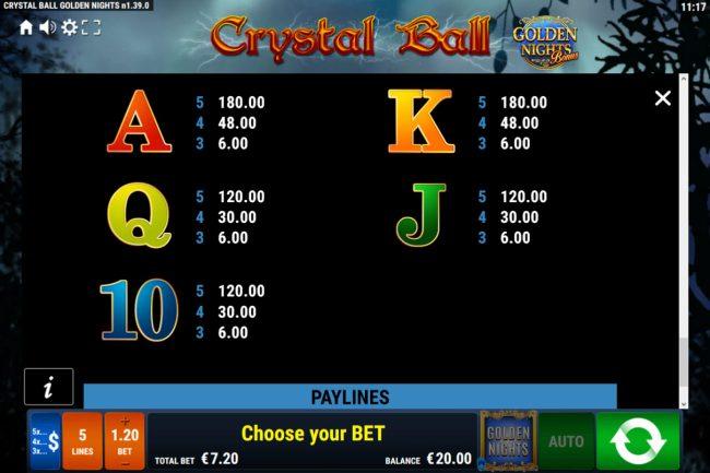 Crystal Ball Golden Nights Bonus :: Low Value Symbols