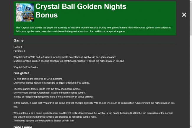 Crystal Ball Golden Nights Bonus :: General Game Rules