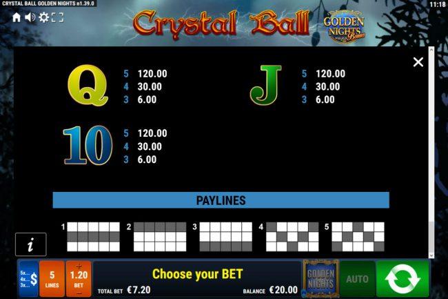 Crystal Ball Golden Nights Bonus :: Paylines 1-5