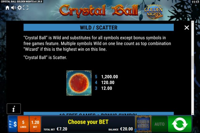 Crystal Ball Golden Nights Bonus :: Wild Symbol Rules