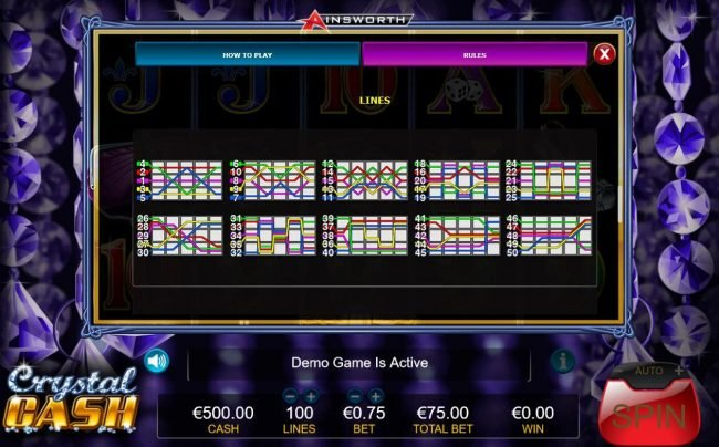 Boaboa featuring the Video Slots Crystal Cash with a maximum payout of $7,500