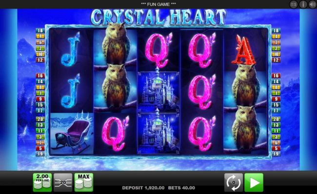 Queen Vegas featuring the Video Slots Crystal Heart with a maximum payout of $4,000