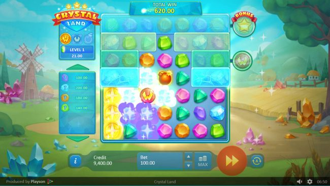 Crystal Land :: Winning combinations are remoced from the reels