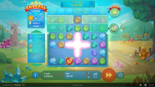 Crystal Land :: Bomb symbols removes symbols from the reels