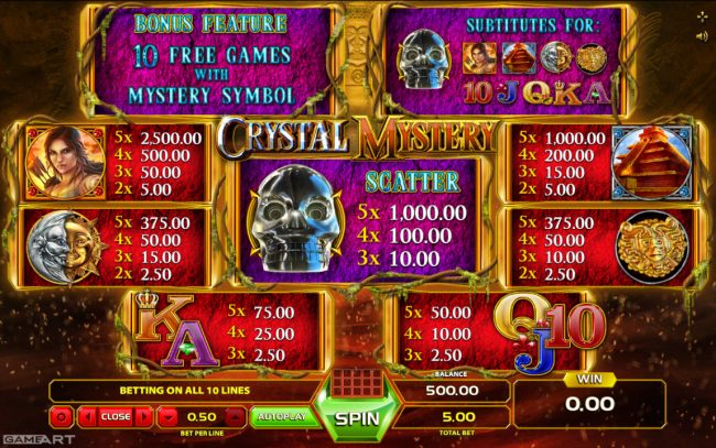Videoslots featuring the Video Slots Crystal Mystery with a maximum payout of $2,500