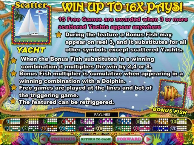 Win up to 16x Pays! 15 free games are awarded when 3 or more scattered yachts appear anywhere.