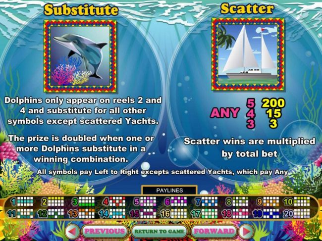 Dolphin Wild and Yacht Scatter symbols rules.