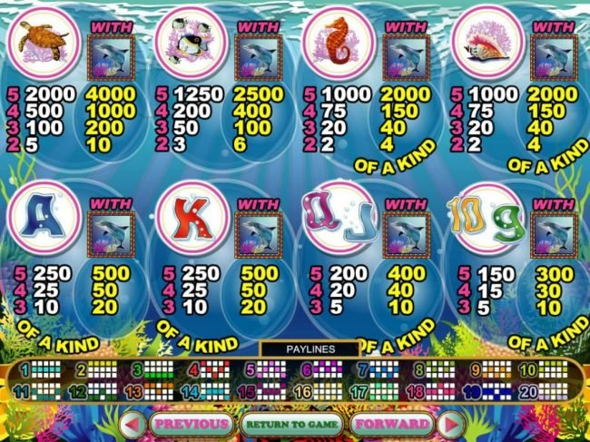 Slot game symbols paytable featuring sea ceature inspired icons.