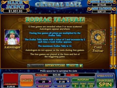 Slot Madness featuring the Video Slots Crystal Ball with a maximum payout of $2,400