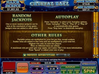 random jackpot rules and general game rules