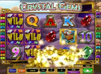 Rose Slots featuring the Video Slots Crystal Gems with a maximum payout of $4,000