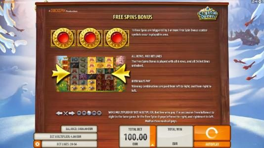 Spinland featuring the Video Slots Crystal Queen with a maximum payout of $20,000