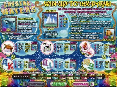 Intertops featuring the Video Slots Crystal Waters with a maximum payout of $250,000