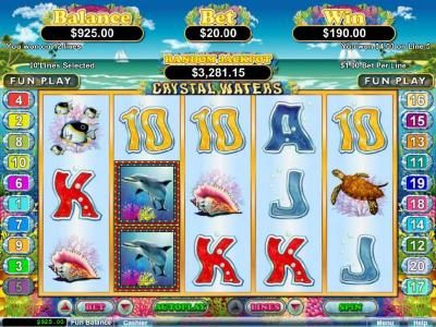 Red Dog featuring the Video Slots Crystal Waters with a maximum payout of $250,000