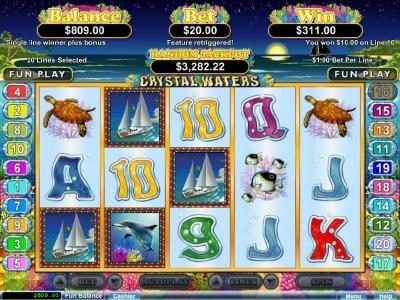 Bodog featuring the Video Slots Crystal Waters with a maximum payout of $250,000
