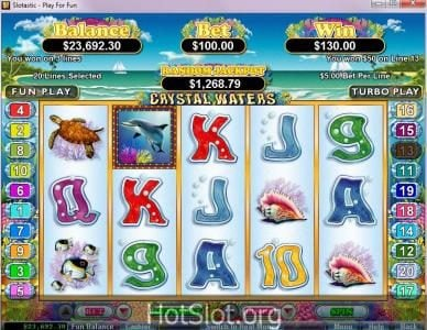 Bovegas featuring the Video Slots Crystal Waters with a maximum payout of $250,000