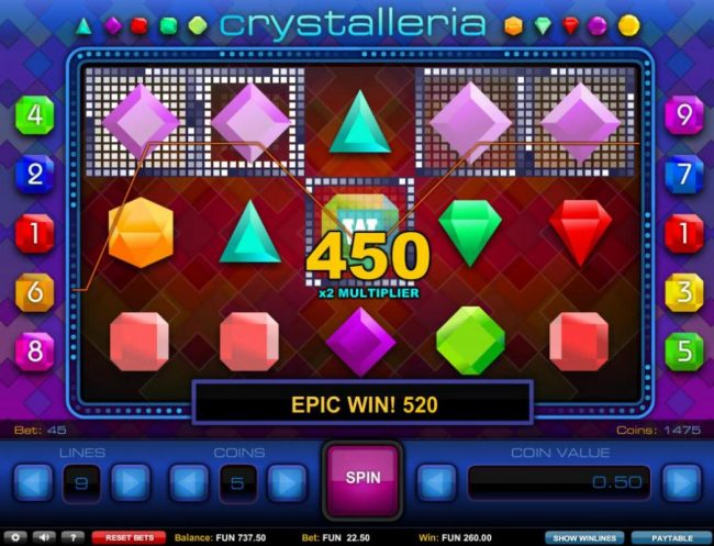 Boo Casino featuring the Video Slots Crystalleria with a maximum payout of $1,875