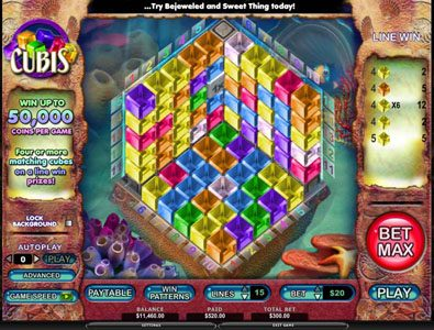 Queen Vegas featuring the Video Slots Cubis with a maximum payout of 50,000x