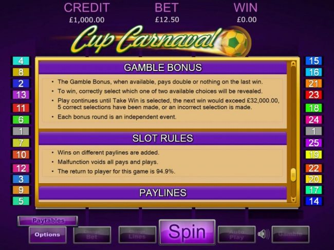 Wicked Jackpots featuring the Video Slots Cup Carnival with a maximum payout of $37,500