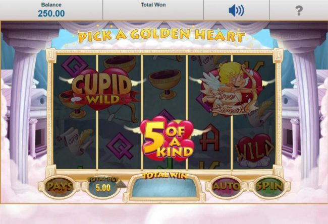 Reel Vegas featuring the Video Slots Cupid Wild at Heart with a maximum payout of $12,500