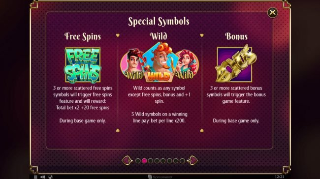 Cupids' Strike :: Wild and Scatter Symbol Rules