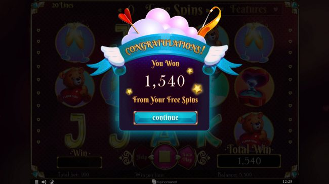 Cupids' Strike :: Total Free Spins Payout