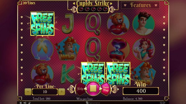 Cupids' Strike :: Scatter win triggers the free spins feature