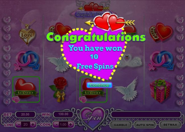 Three heart scatter symbols triggers 10 free spins.