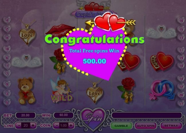 My Touch featuring the Video Slots Cupid's Arrow with a maximum payout of $30,000