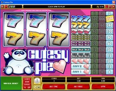 Play slots at Win Own Casino: Win Own Casino featuring the Video Slots Cutesy Pie with a maximum payout of $37,500