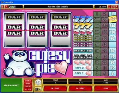 Royal Panda featuring the Video Slots Cutesy Pie with a maximum payout of $37,500