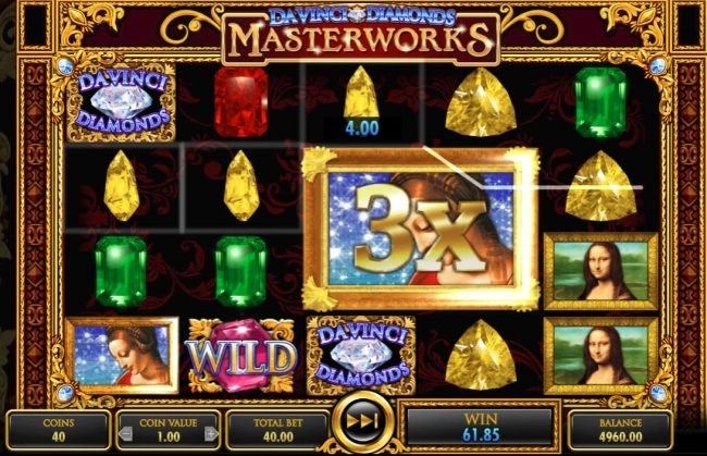 Powerspins featuring the Video Slots Da Vinci Diamonds Masterworks with a maximum payout of $25,000,000