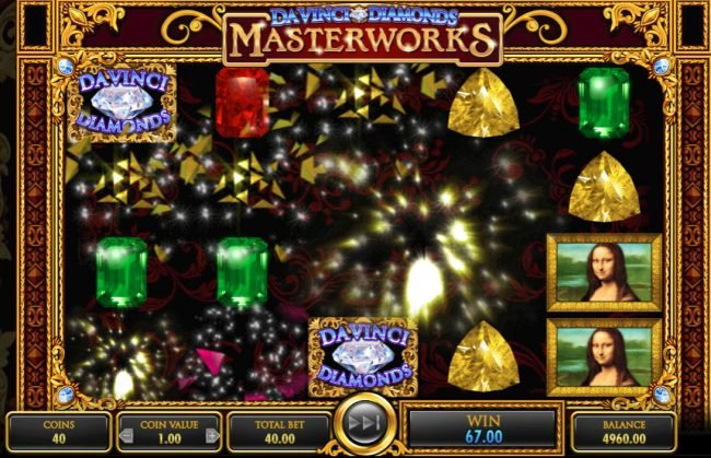 Betfair featuring the Video Slots Da Vinci Diamonds Masterworks with a maximum payout of $25,000,000
