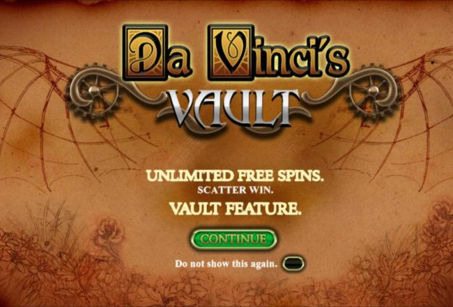 Play slots at Club Vulkan: Club Vulkan featuring the Video Slots Da Vinci's Vault with a maximum payout of $50,000