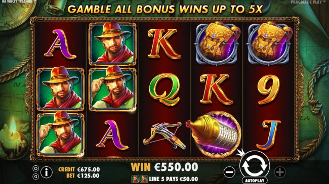Kingbit Casino featuring the Video Slots Da Vinci's Treasure with a maximum payout of $500,000
