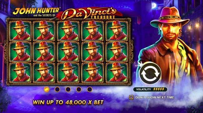 Play slots at Mayflower: Mayflower featuring the Video Slots John Hunter and the Secrets of Da Vinci's Treasure with a maximum payout of $500,000